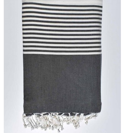 Thrown black and ecru with stripes