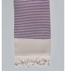 Beach towel White cream striped with purple Lurex thread