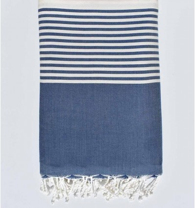 Thrown steel navy blue and ecru with stripes