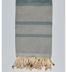 Beach towel chevron green and light gray