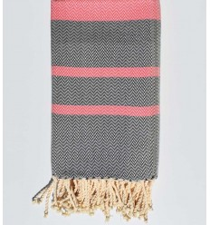 Beach towel chevron dark pink and midnight blue