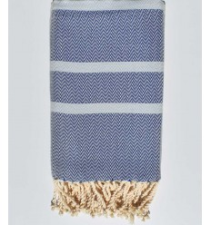 Beach towel chevron Royal blue and mayan blue