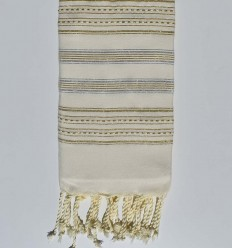 Beach towel flat ecru with silver and gold lurex