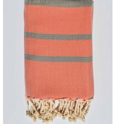 Beach towel chevron orange and taupe