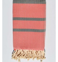 Beach towel chevron Red and black