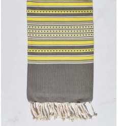 Beach towel arabesque pale olive green with yellow stripes
