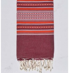 Beach towel arabesque purple with red stripes