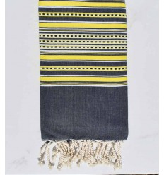 Beach towel arabesque midnight blue with yellow stripes