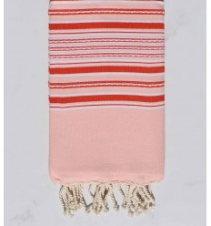Beach towel arabesque pink baby with red stripes