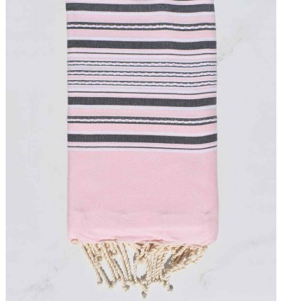 Beach towel arabesque pastel pink with gray stripes