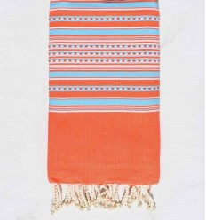 Beach towel arabesque dark orange with light blue stripes