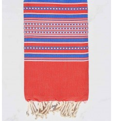 Beach towel arabesque red striped blue