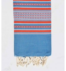 Beach towel arabesque blue denim with red stripes