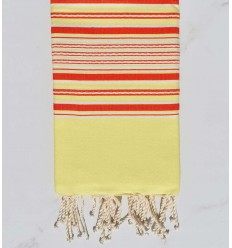 Beach towel arabesque yellow with red stripes