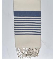 Beach towel Arthur white cream and blue denim