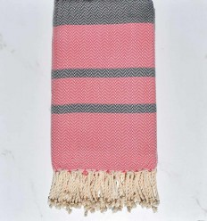 Beach towel chevron pink and midnight blue