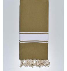 Green beige striped white throw