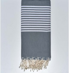 Smokey grey with stripes throw