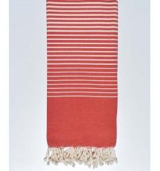 Thrown red striped ecru