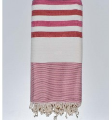 Bed Throw white, pink and red