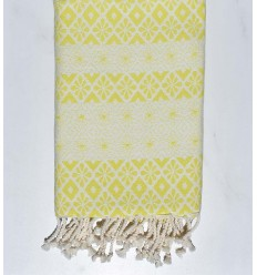Beach towel flowery lime yellow