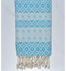 Beach towel flowery sky blue