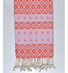 Beach towel flowery orange