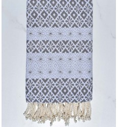 Beach towel flowery Grey