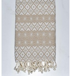 Beach towel flowery beige
