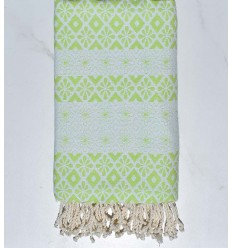 Beach towel flowery light green