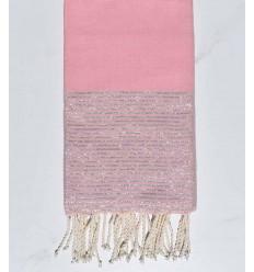 Beach towel flat Pink powder with silver lurex thread