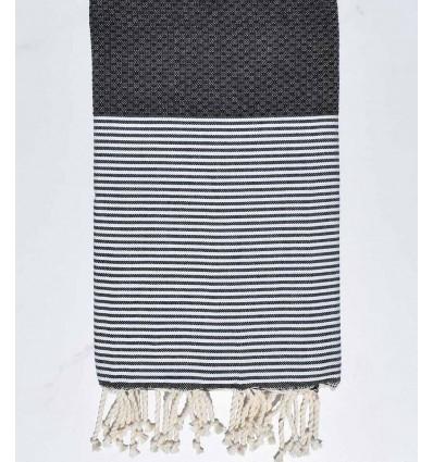 HONEYCOMB slate grey striped white fouta