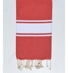 Coral red beach towel