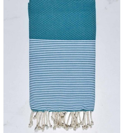 Honeycomb teal blue striped white fouta