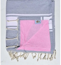 beach towel,doubled sponge light gray and pink