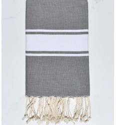 Beach Towel flat white striped gray