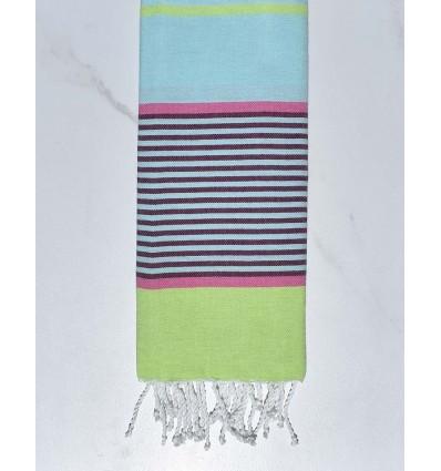 Light azure blue, pink, dark magenta and light green Kid beach towel