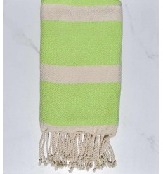 Beach towel chevron light green and ecru