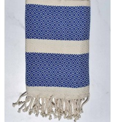 Blue and white Cream chevron beach towel