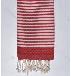 Honeycomb striped 1 cm English red stripes fouta