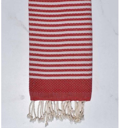 Honeycomb striped 1 cm English red stripes fouta