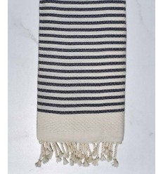 Honeycomb striped 1 cm dark blue stripes fouta