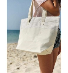 Beach bag Beach towel ecru color with silver lurex