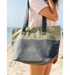 Beach bag Beach towel dark gray color with golden lurex