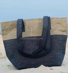 Beach bag Beach towel Navy blue color with golden lurex