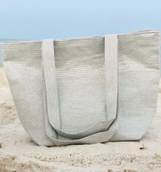 Beach bag Beach towel light gray color with silver lurex