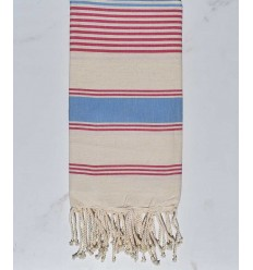cream white, light blue and dark pink beach towel