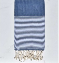 Honeycomb woad blue striped white fouta