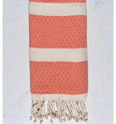 Beach towel chevron orange and ecru