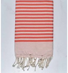 Fouta honeycomb striped 1 cm coral pink color
